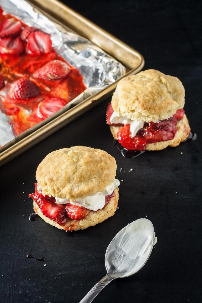 Roasting fresh strawberries gives these roasted strawberry shortcakes a little something special compared to the traditional version.