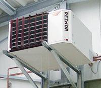 A unit heater in a garage