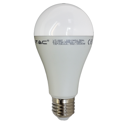 17W LED Birne E27 A65 Thermoplastik 3000K Warmweiss