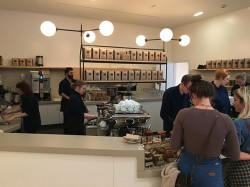 Service bay, roasted Sightglass coffee, and a Kees van der Westen Spirit machine