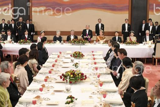 Japanese Empress Michiko, King Philippe - Filip of Belgium, Japanese Emperor Akihito and Queen Mathilde of Belgium pictured during a State Banquet at the Imperial Palace on the second day of a state visit to Japan of the Belgian Royals, Tuesday 11 October 2016, in Tokyo, Japan. BELGA PHOTO POOL FRED SIERAKOWSKI