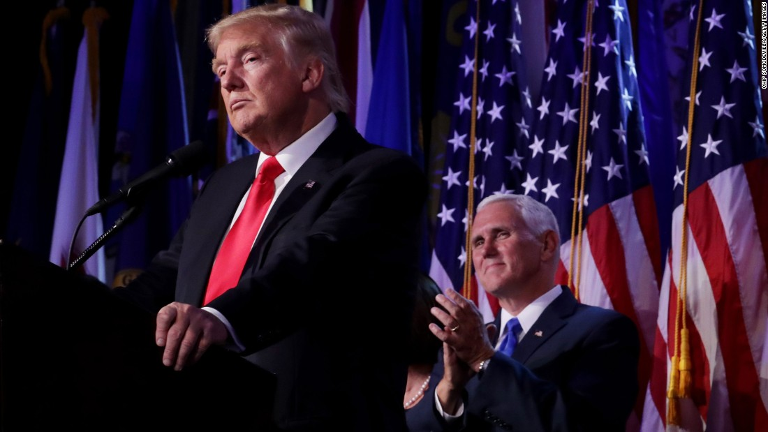 """President-elect Donald Trump delivers <a href=""""http://www.cnn.com/2016/11/09/politics/donald-trump-acceptance-speech/"""" target=""""_blank"""">his acceptance speech</a> in the early morning hours of Wednesday, November 9, as his running mate, Indiana Gov. Mike Pence, applauds in New York. The 2016 presidential campaign was one of the most dramatic and unpredictable races in U.S. history. How did we get to this point? Here's a look at how the campaign unfolded."""