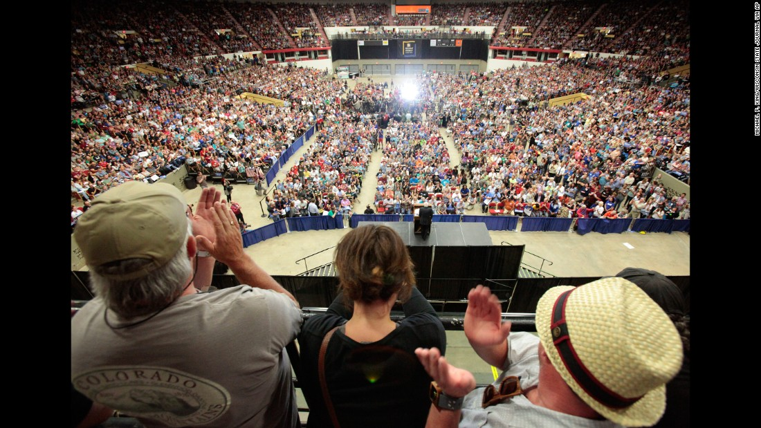 "People in Madison, Wisconsin, cheer at a campaign rally for U.S. Sen. Bernie Sanders on July 1, 2015. The Vermont independent, seeking the Democratic Party's presidential nomination, <a href=""http://www.cnn.com/2015/07/01/politics/bernie-sanders-crowds-wisconsin-2016/"" target=""_blank"">drew nearly 10,000 supporters in Madison.</a>"