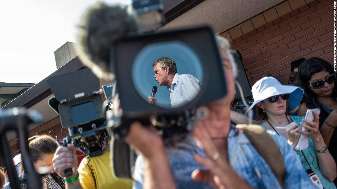 Bush is seen on a camera at the Iowa State Fair on August 14, 2015.