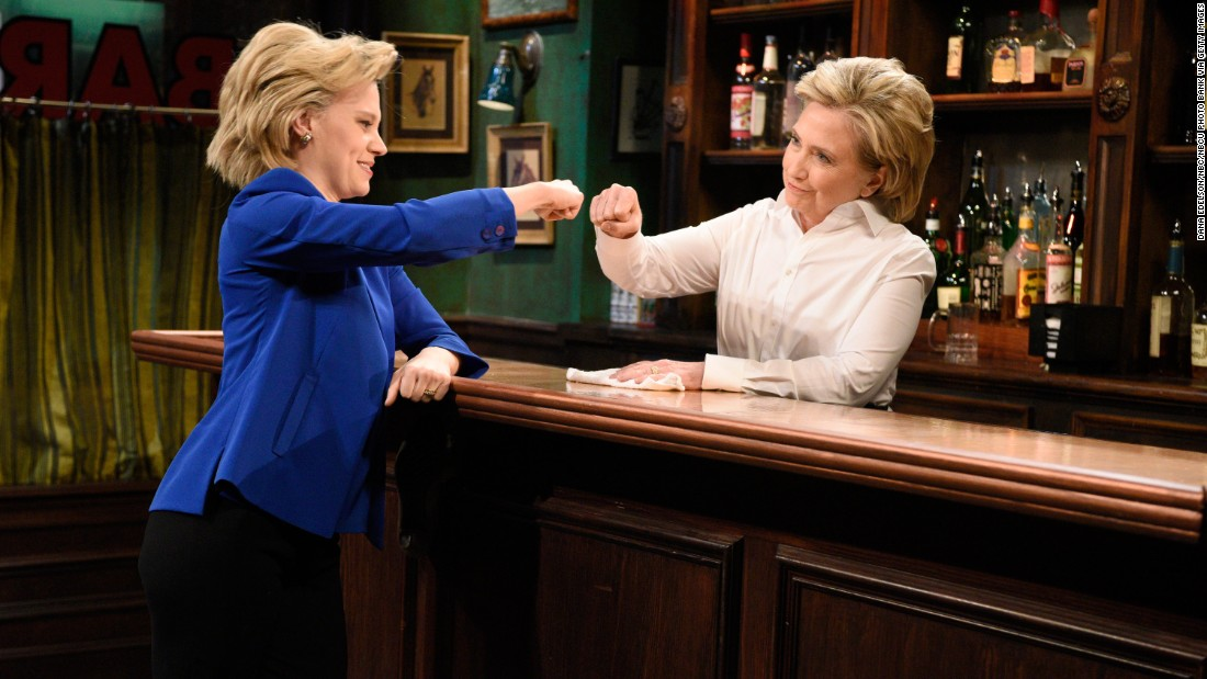 """Clinton, right, appears on an episode of """"Saturday Night Live"""" opposite Kate McKinnon, who has been playing Clinton during the campaign, on October 3, 2015."""