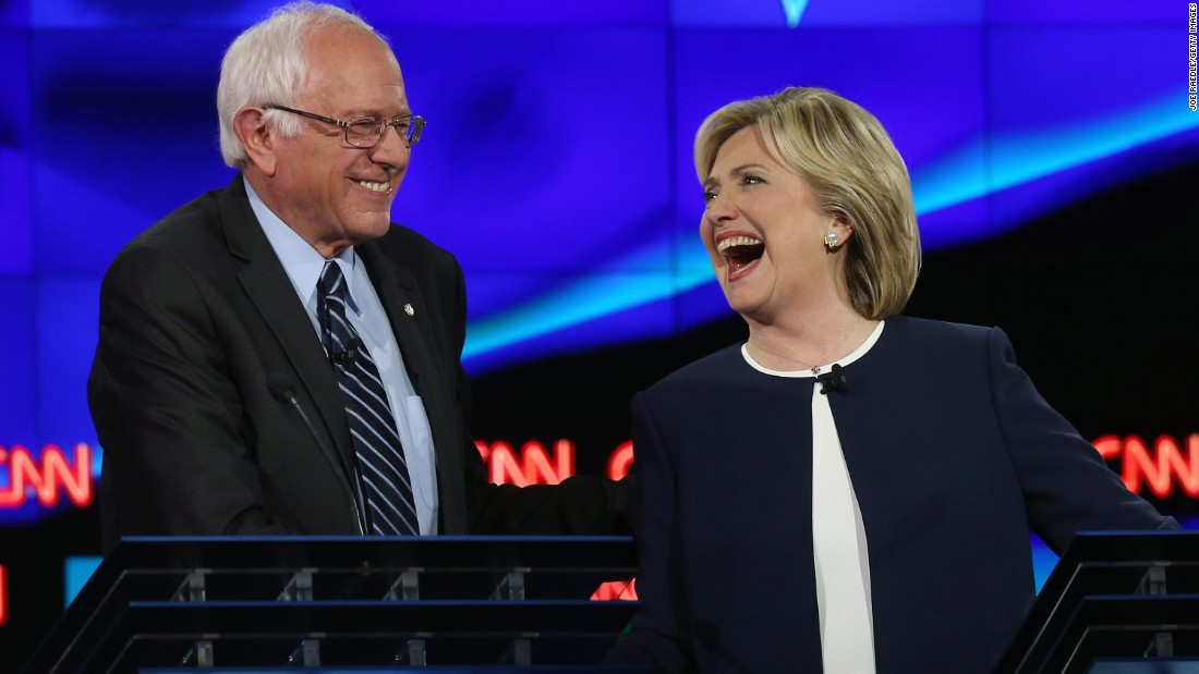 "During a <a href=""http://www.cnn.com/2015/10/13/politics/gallery/democratic-debate-las-vegas/index.html"" target=""_blank"">Democratic debate</a> on October 13, 2015, Sanders and Clinton shared a lighthearted moment following Sanders' take on <a href=""http://www.cnn.com/2015/09/03/politics/hillary-clinton-email-controversy-explained-2016/"" target=""_blank"">the Clinton email scandal.</a> ""The American people are sick and tired of hearing about your damn emails,"" Sanders said. ""Enough of the emails. Let's talk about the real issues facing the United States of America."" Clinton said, ""Thank you, me too,"" and then later shook his hand to the applause of the audience."
