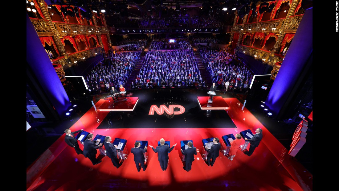"""Nine of the highest-polling Republican candidates take part in a debate in Las Vegas on December 15, 2015. Vincent Laforet, a Pulitzer Prize-winning photographer and director, <a href=""""http://www.cnn.com/2015/12/16/politics/gallery/cnn-debate-vegas-vincent-laforet/index.html"""" target=""""_blank"""">set up seven still cameras at the debate,</a> which was held at a theater inside the Venetian hotel and casino."""