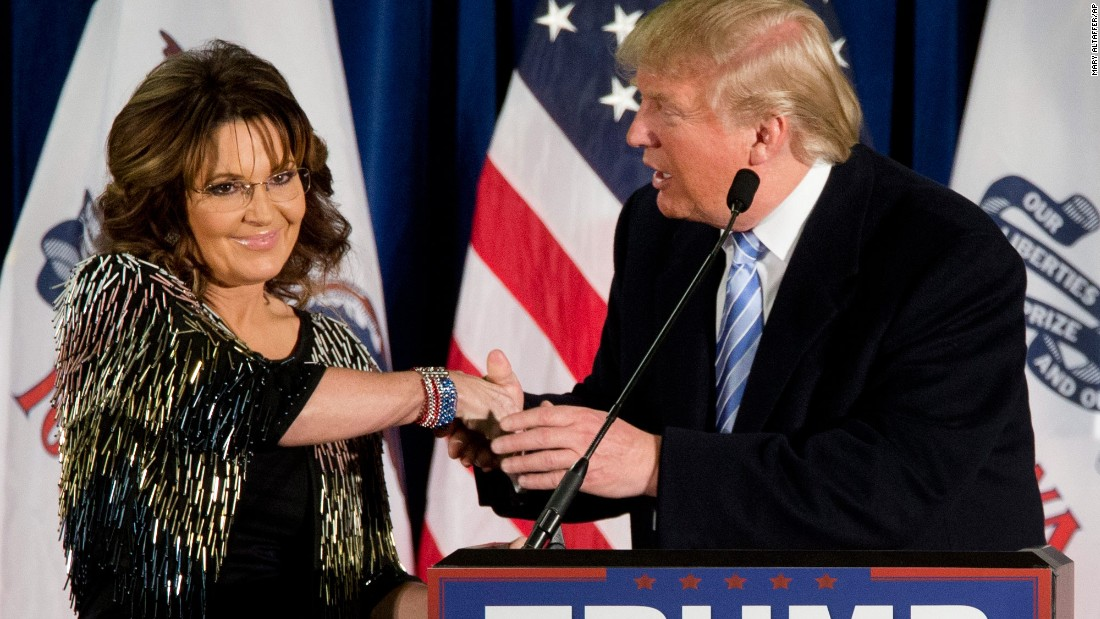 "Trump shakes the hand of former Alaska Gov. Sarah Palin after <a href=""http://www.cnn.com/2016/01/19/politics/donald-trump-endorsement-sarah-palin/index.html"" target=""_blank"">she endorsed him</a> in Ames, Iowa, on January 19, 2016. Palin was the GOP's vice presidential candidate in 2008."