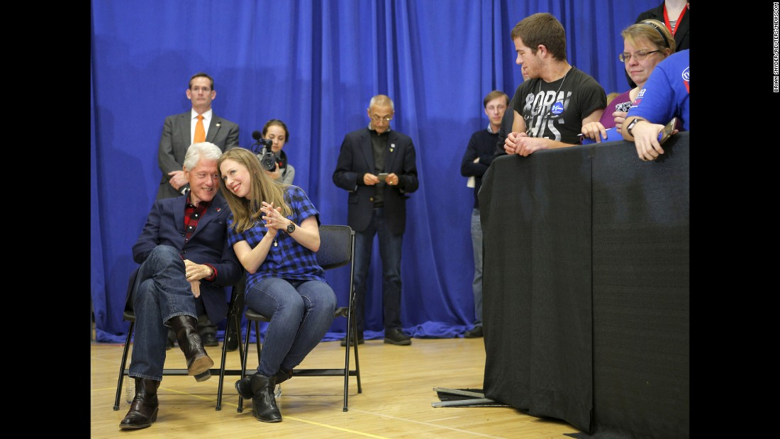 """Former U.S. President Bill Clinton and his daughter, Chelsea, listen to Hillary Clinton speak in Cedar Rapids, Iowa, on January 30, 2016. Clinton <a href=""""http://www.cnn.com/2016/02/01/politics/iowa-caucuses-2016-highlights/"""" target=""""_blank"""">went on to win the Iowa caucuses</a> by a razor-thin margin, edging Sanders by a few percentage points. Cruz won on the GOP side."""