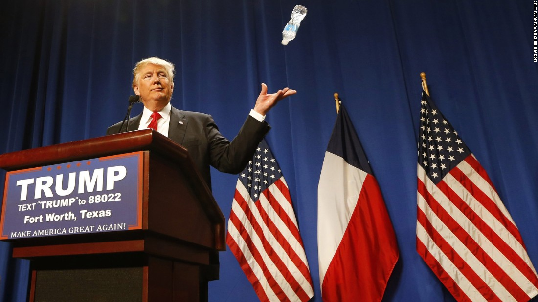 """Trump tosses a water bottle while speaking to supporters in Fort Worth, Texas, on February 26, 2016. <a href=""""http://www.cnn.com/videos/politics/2016/02/26/donald-trump-marco-rubio-water-state-of-the-union.cnn"""" target=""""_blank"""">He was mocking Rubio's 2013 State of the Union response,</a> where Rubio took a sip of water mid-speech."""