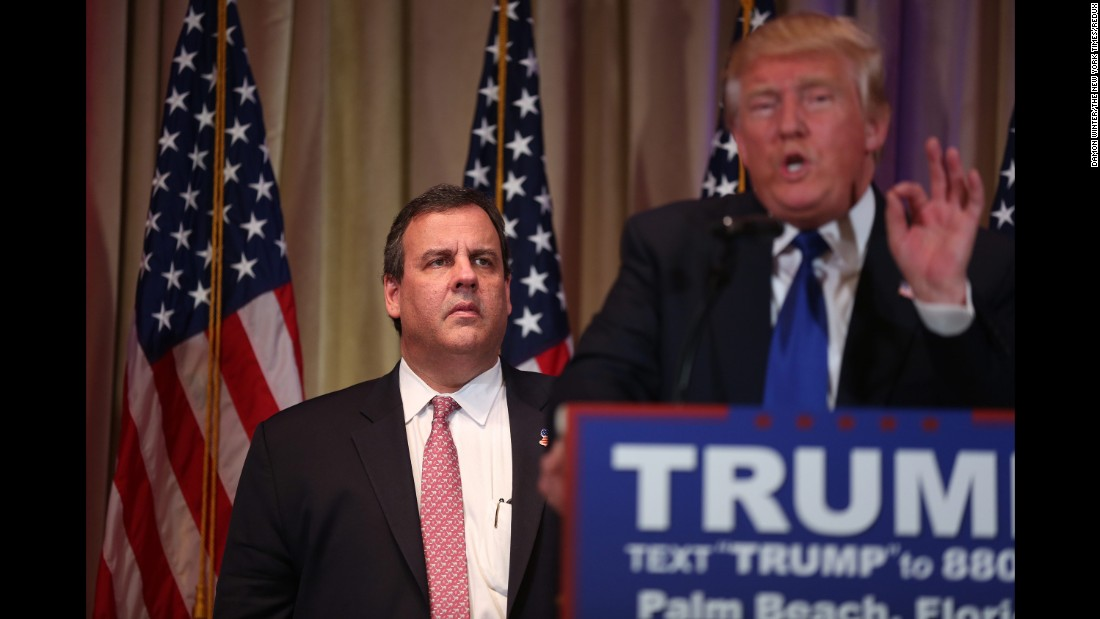 """Christie, who <a href=""""http://www.cnn.com/2016/02/10/politics/chris-christie-2016-election/"""" target=""""_blank"""">suspended his campaign</a> in February, stands near Trump after introducing the GOP front-runner in Palm Beach, Florida, on March 1, 2016. Christie's facial expression <a href=""""http://www.cnn.com/2016/03/01/politics/chris-christie-donald-trump-face/index.html"""" target=""""_blank"""">drew laughter on social media,</a> where the hashtag #FreeChrisChristie took flight. Christie later insisted his blank stare was only because he was listening intently. """"All these armchair psychiatrists should give it a break,"""" Christie said. """"I was standing up there, supporting the person who I believe is the best person to beat Hillary Clinton of the remaining Republican candidates. It's why I endorsed him."""""""