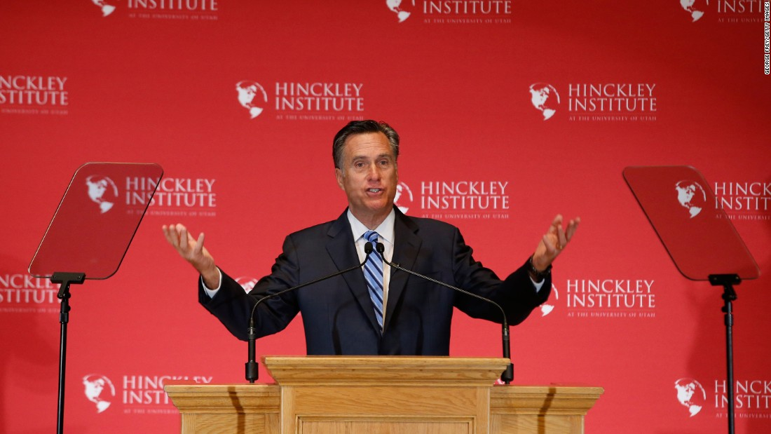 """Former Massachusetts Gov. Mitt Romney gives a speech about the state of the Republican Party during a forum at the University of Utah on March 3, 2016. Romney <a href=""""http://www.cnn.com/2016/03/03/politics/mitt-romney-presidential-race-speech/index.html"""" target=""""_blank"""">went after Trump, </a>calling the GOP front-runner a phony and a fraud. Trump hit back by mocking Romney's loss in the 2012 presidential election and saying that Romney back then """"was begging for my endorsement."""""""