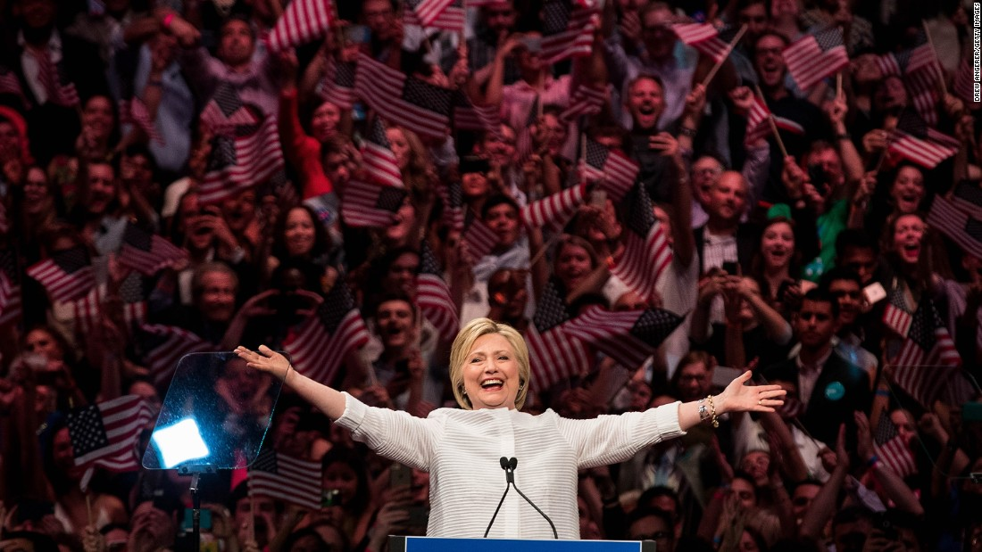 """Clinton arrives to a primary night rally in New York on June 7, 2016. A day earlier, she had secured enough delegates <a href=""""http://www.cnn.com/2016/06/06/politics/hillary-clinton-nomination-2016/"""" target=""""_blank"""">to become the Democratic Party's presumptive nominee. </a>"""