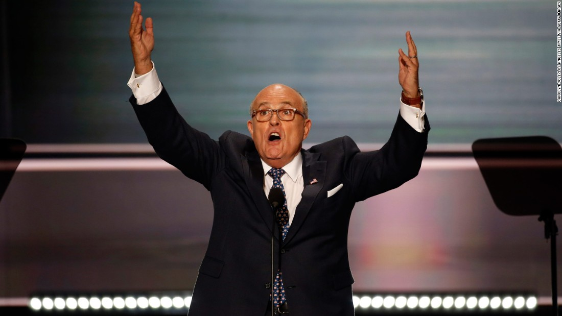 """Former New York City Mayor Rudy Giuliani <a href=""""http://www.cnn.com/2016/07/18/politics/rudy-giuliani-rnc-speech/"""" target=""""_blank"""">delivers a fiery speech</a> on the opening night of the Republican National Convention on July 18, 2016. He unleashed a stinging barrage against Clinton's character, and he attacked the Democrat over Benghazi and immigration."""