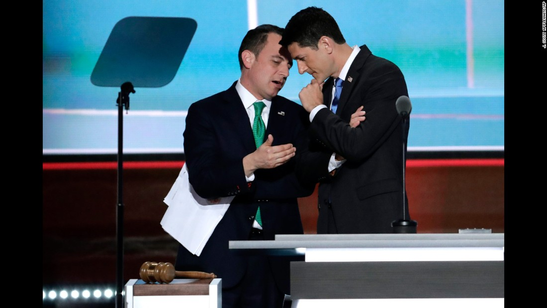 """House Speaker Paul Ryan, right, talks with Reince Priebus, the chairman of the Republican National Committee, as Priebus <a href=""""http://www.cnn.com/2016/07/19/politics/alaska-delegates-donald-trump/index.html"""" target=""""_blank"""">explains Alaska's votes</a> on the second day of the Republican National Convention. Trump shared Alaska's delegates after the state's caucuses on March 1, but a little-known rule allowed him to receive all of them at the convention."""