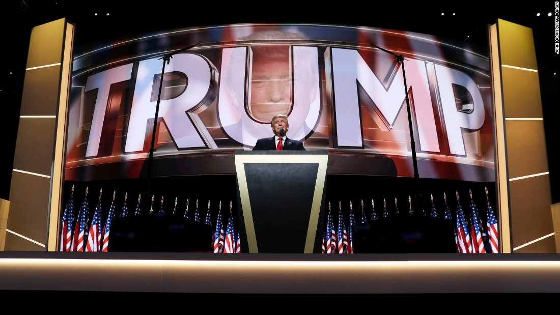 """Trump <a href=""""http://www.cnn.com/2016/07/21/politics/republican-convention-highlights-day-four/index.html"""" target=""""_blank"""">delivers his speech</a> at the Republican National Convention. """"I have had a truly great life in business,"""" he said. """"But now, my sole and exclusive mission is to go to work for our country -- to go to work for you. It's time to deliver a victory for the American people."""""""