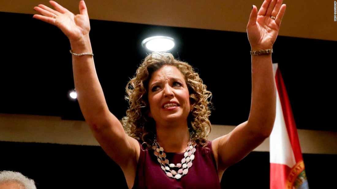 """Debbie Wasserman Schultz, chairwoman of the Democratic National Committee, arrives for a delegation breakfast in Philadelphia on July 25, 2016. Wasserman Schultz <a href=""""http://www.cnn.com/2016/07/24/politics/debbie-wasserman-schultz-dnc-chair-career/"""" target=""""_blank"""">resigned at the end of the convention</a> after leaked committee emails appeared to show favoritism toward Clinton in the primary race."""