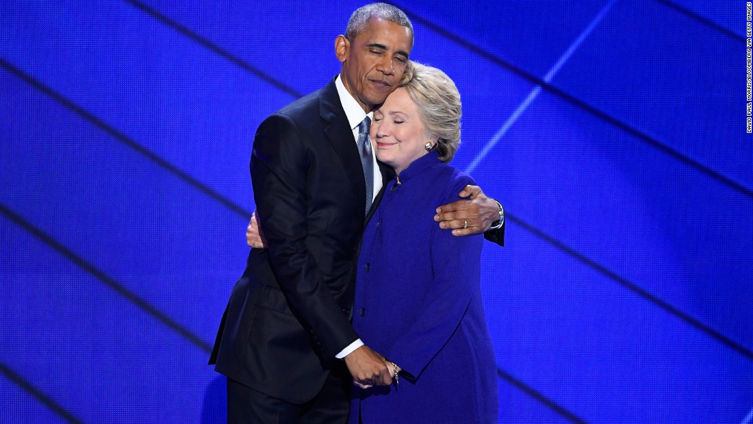 """President Obama hugs Clinton <a href=""""http://www.cnn.com/2016/07/27/politics/president-obama-democratic-convention-speech/"""" target=""""_blank"""">after speaking at the convention</a> on July 27, 2016. Obama told the crowd that Clinton is ready to be commander in chief. """"For four years, I had a front-row seat to her intelligence, her judgment and her discipline,"""" he said, referring to Clinton's stint as secretary of state."""