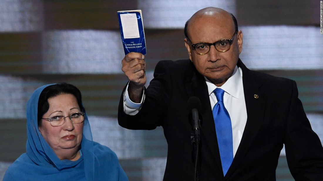 """Khizr Khan<a href=""""http://www.cnn.com/2016/07/29/politics/muslims-moment-khan/index.html"""" target=""""_blank""""> holds his personal copy of the U.S. Constitution</a> as he speaks at the Democratic National Convention on July 28, 2016. Khan's son, U.S. Army Capt. Humayun Khan, was killed in 2004 while serving in Afghanistan. """"If it was up to Donald Trump,"""" Khan said, """"(my son) never would have been in America. ... Donald Trump, you are asking Americans to trust you with our future. Let me ask you: Have you even read the U.S. Constitution? I will gladly lend you my copy."""""""