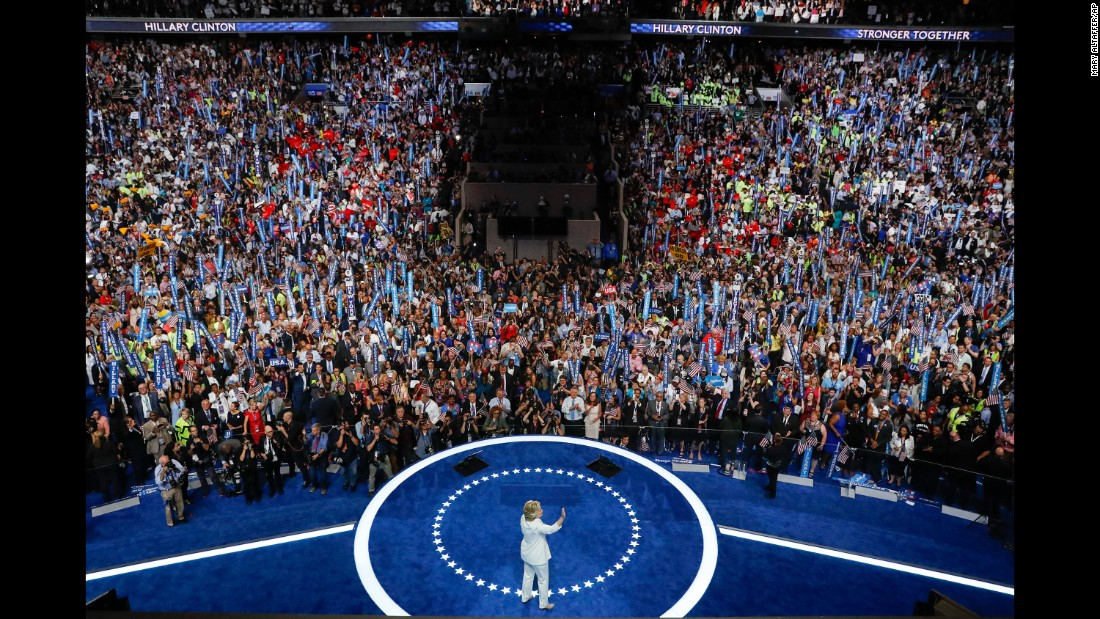 "Clinton waves after<a href=""http://www.cnn.com/2016/07/28/politics/hillary-clinton-dem-convention-speech/"" target=""_blank""> her speech</a> on the final day of the Democratic National Convention. She officially became the first woman to lead the ticket of a major political party. ""When there are no ceilings,"" she said, ""the sky's the limit."""