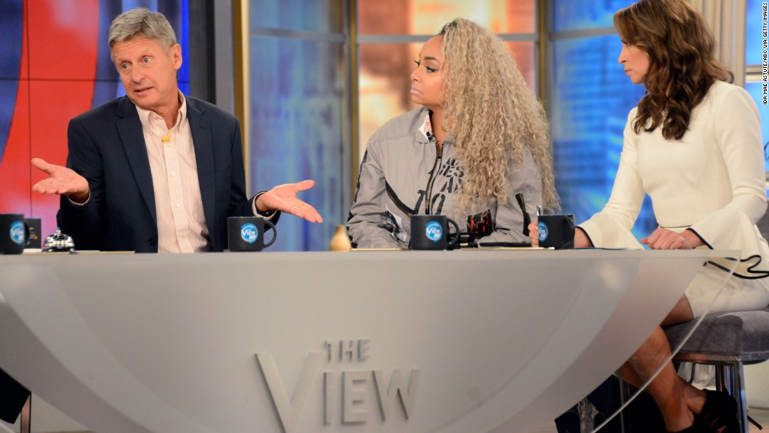 """Gary Johnson, the Libertarian Party's presidential candidate, appears on the talk show """"The View"""" on September 8, 2016. A few hours earlier, Johnson appeared on MSNBC's """"Morning Joe"""" where he responded, <a href=""""http://www.cnn.com/2016/09/08/politics/gary-johnson-aleppo/index.html"""" target=""""_blank"""">""""And what is Aleppo?""""</a> when co-host Mike Barnicle asked what Johnson would do about the war-torn Syrian city. Johnson addressed his interview gaffe when he appeared on """"The View,"""" saying there was """"no excuse"""" for his response and that he was thinking of Aleppo as an acronym."""