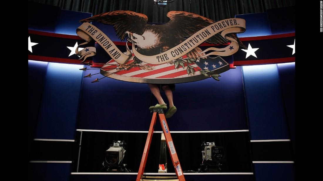 """Workers prepare the stage for <a href=""""http://www.cnn.com/2016/10/09/politics/gallery/second-presidential-debate/index.html"""" target=""""_blank"""">the second presidential debate,</a> which took place in St. Louis on October 7, 2016."""