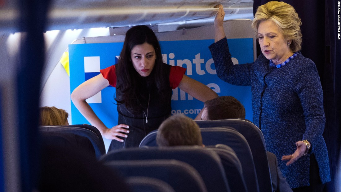 """Clinton and aide Huma Abedin stand aboard Clinton's campaign plane as they head to Cedar Rapids, Iowa, for a campaign rally on October 28, 2016. News broke on the flight that <a href=""""http://www.cnn.com/2016/10/28/politics/hillary-clinton-anthony-weiner/"""" target=""""_blank"""">the FBI was reviewing new emails</a> related to Clinton's personal server, bringing an issue they had assumed was behind them back into the campaign. The emails being examined were part of an investigation into former U.S. Rep. Anthony Weiner, Abedin's estranged husband, who is accused of sexting with a girl who was purportedly underage. On November 6, 2016, FBI Director James Comey <a href=""""http://www.cnn.com/2016/11/06/politics/comey-tells-congress-fbi-has-not-changed-conclusions/index.html"""" target=""""_blank"""">told lawmakers</a> that after reviewing the new emails, the agency stood by its opinion that Clinton should not face criminal charges."""