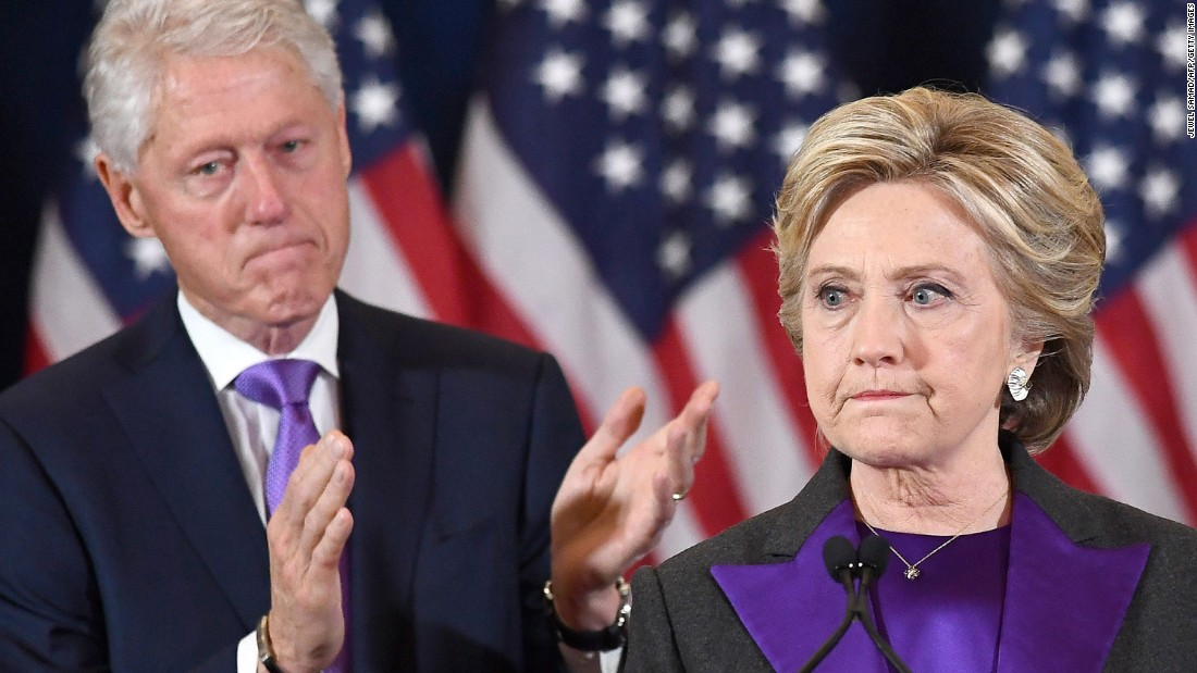 """Clinton delivers <a href=""""http://www.cnn.com/2016/11/09/politics/clinton-to-offer-remarks-in-new-york-city/"""" target=""""_blank"""">her concession speech</a> on November 9, 2016. She told her supporters she was sorry for not winning. """"Donald Trump is going to be our President. We owe him an open mind and a chance to lead,"""" she said."""