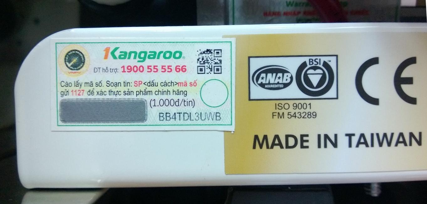 Tin nhắn xác nhận máy lọc nước Kangaroo chính hãng