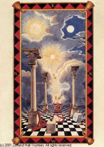 Masonic tracing board with three pillars and two suns, with a ladder leading to the one beyond