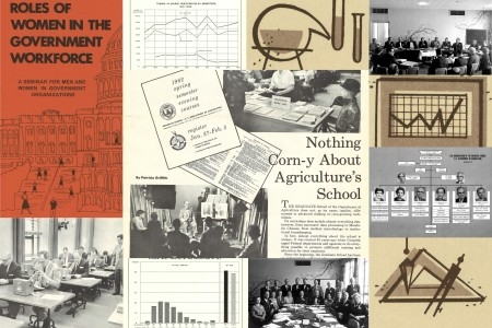 A collage featuring photographs of students and faculty, an org chart, statistical graphics, and promotional materials from the USDA Graduate School.