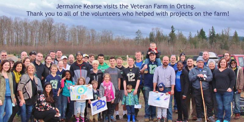 Jermaine Kearse Visits the Washington Soldiers Home and Veterans Farm.  Pictured in photo is all of the volunteers from the Veterans Farm with Jermaine Kearse.