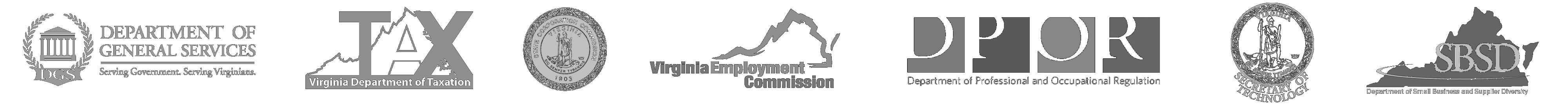 Logos: Department of General Services, VA Tax, State Corporation Commission, Virginia Employment Commission, DMBE, DPOR, Virginia Department of Business Assistance