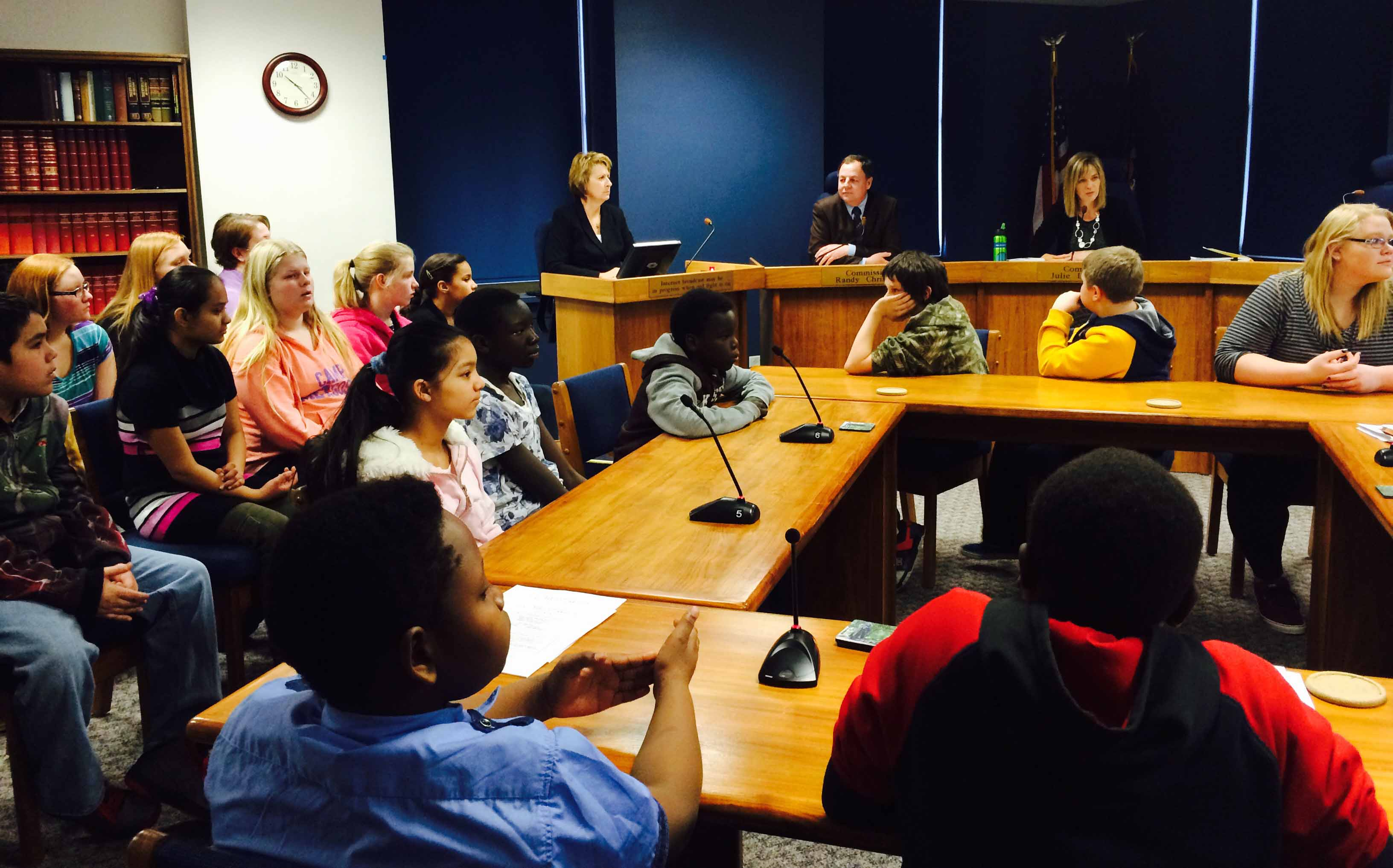 Commissioners visit with students from Fargo