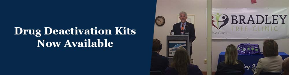 Drug deactivation kits now available - photo of AG Herring speaking about the kits