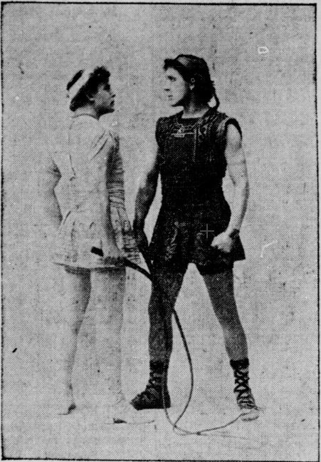 Basill Gill as Messala (Left) and William Farnum as Ben-Hur (Right) in the 1902 Indianapolis production. Courtesy of Hoosier State Chronicles.
