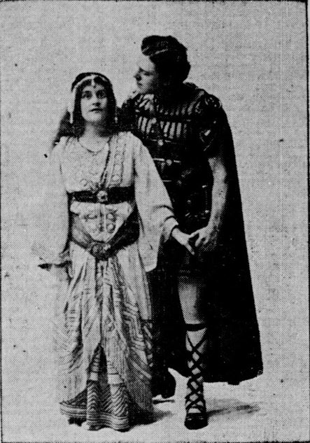 Ellen Mortimer as Esther (Left) and William Farnum as Ben-Hur (Right) in the 1902 production. Courtesy of Hoosier State Chronicles.