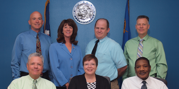 Members of the Board of Parole Commissioners:  - From Left to Right: Commissioners Tony Corda, Susan L. Jackson, Adam Endel, Michael Keeler Bottom Row: Maurice Silva, Commissioner; Connie S. Bisbee, Chairman; Ed Gray, Commissioner