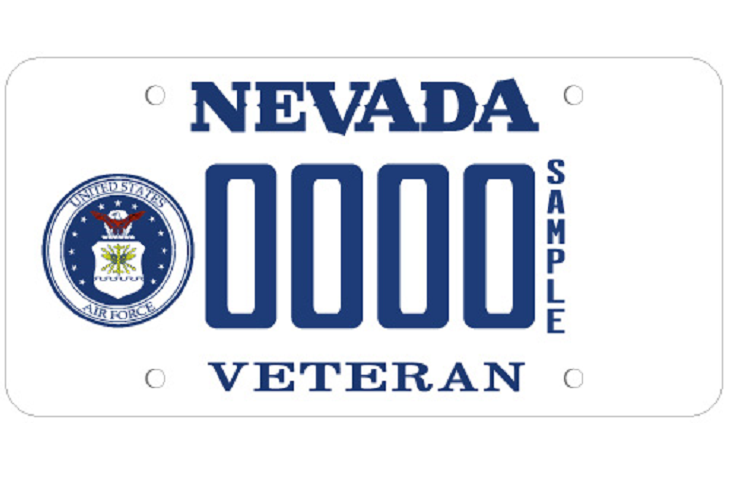 The Nevada Department of Motor Vehicles offers several distinctive license plates for veterans. Applications for special plates can be obtained at your local DMV Office.