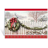 Wreath on Picket Fence Holiday Cards