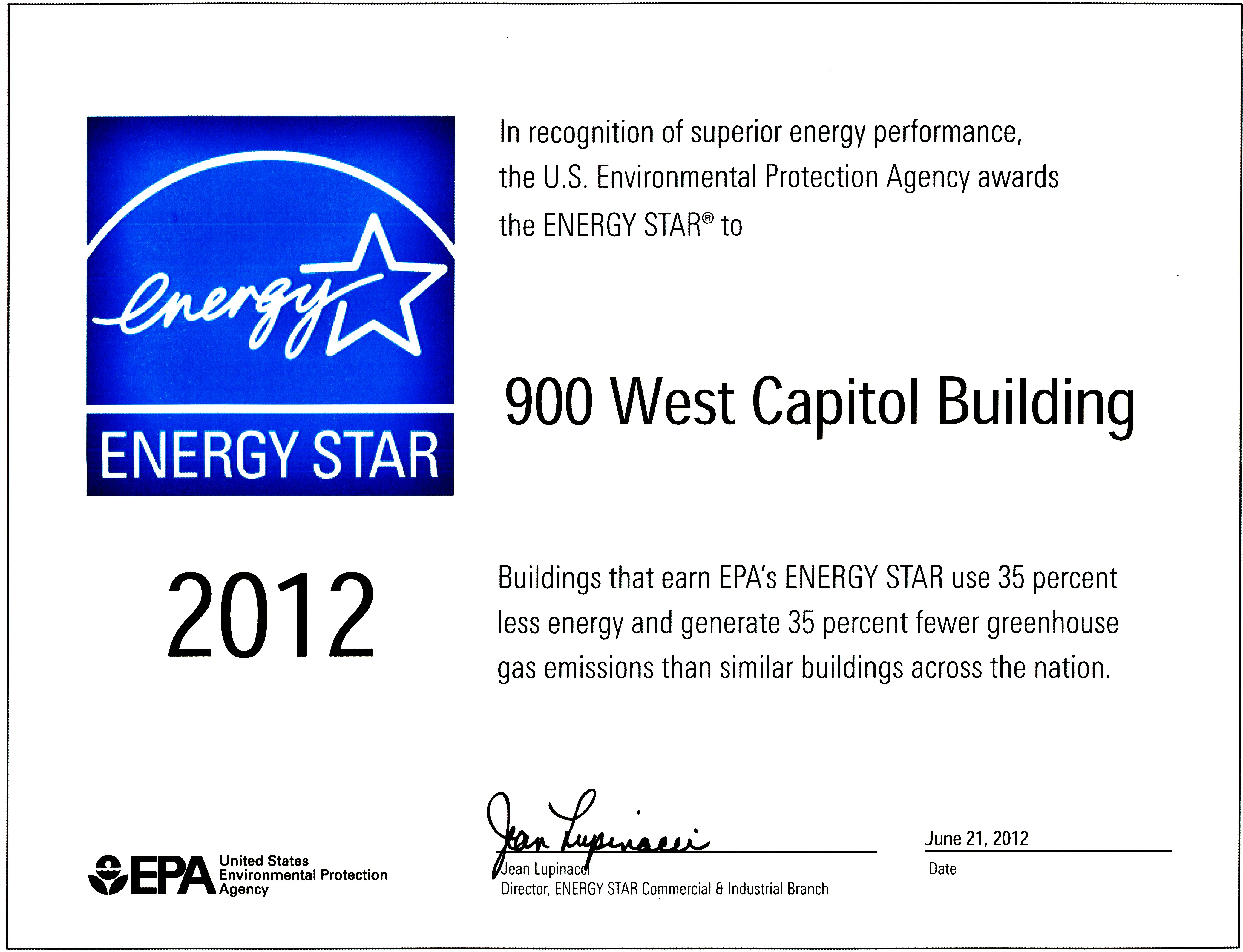 900 West Capitol Building earned the EPA Energy Star  for use 35 percent less energy and generated 35 percent fewer greenhouse gas emissions than similar buildings across the nation.