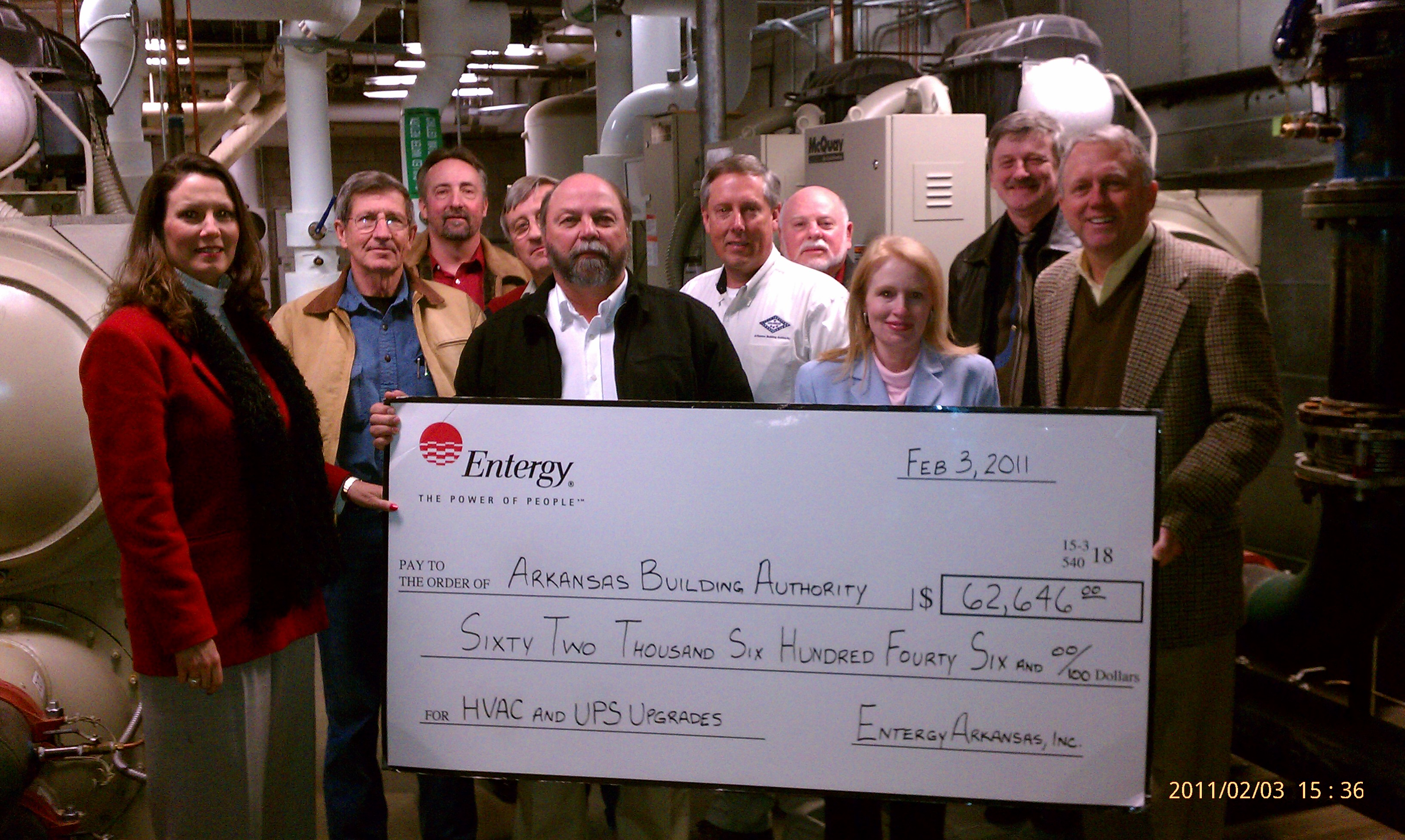 The Arkansas Building Authority (ABA) was awarded an incentive check of $62,650 from Entergy Arkansas, Inc.'s no-cost Large Commercial and Industrial Solutions Program.