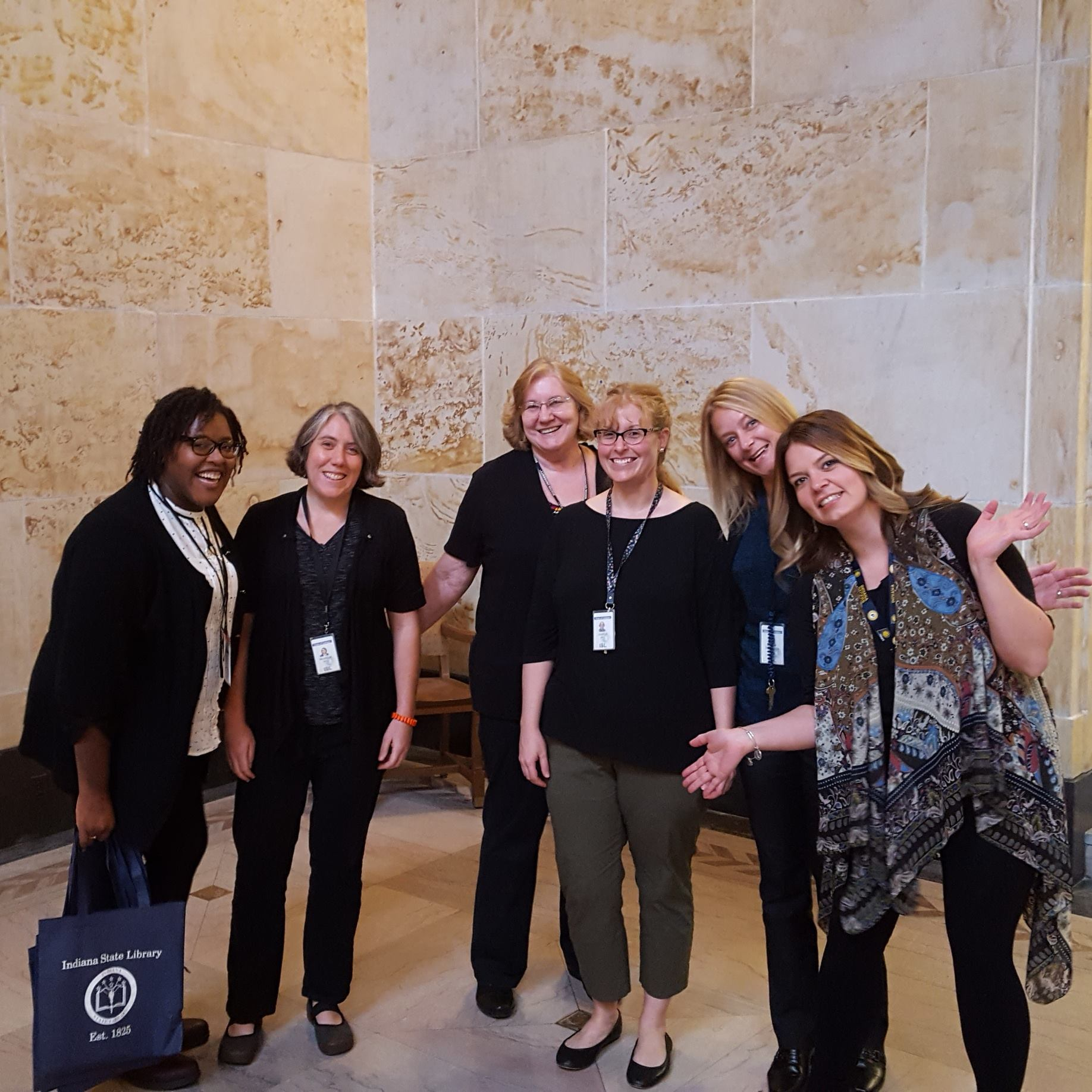 Pictured: Stephanie Smith (Circulation), Monique Howell (Indiana), Marcia Caudell (Reference), Jocelyn Lewis (Catalog), Stephanie Asberry (Genealogy), Bethany Fiechter (Rare Books & Manuscripts)