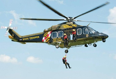 Maryland State Police Aviation Command performing a rescue.