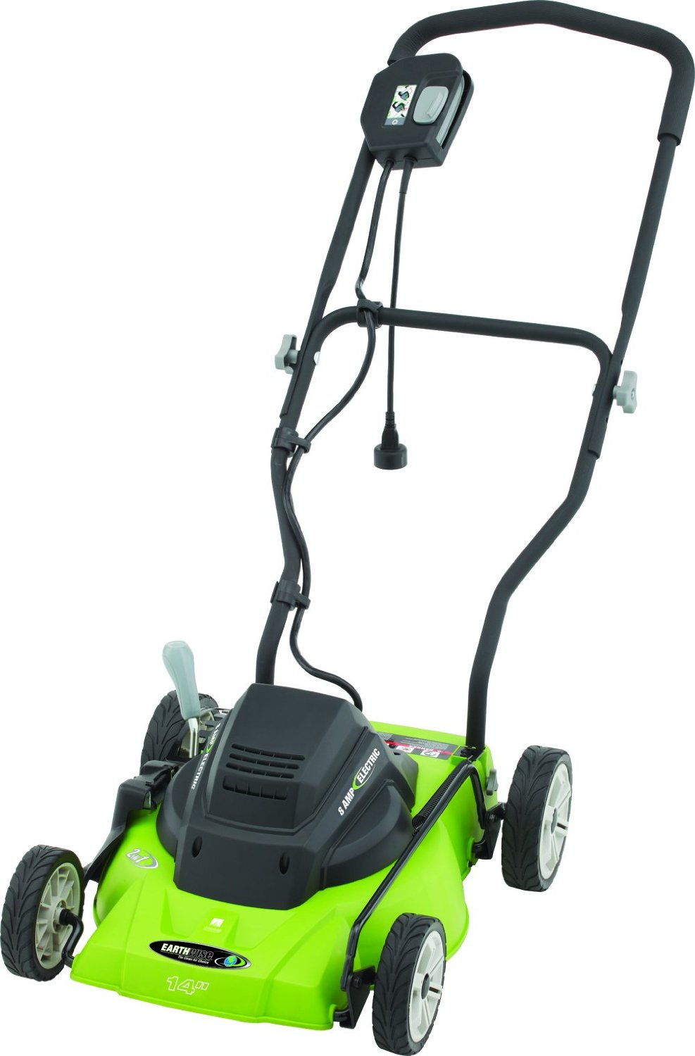 Earthwise 14-Inch 8-Amp Side Discharge/Mulching Corded Electric Lawn Mower, Model 50214