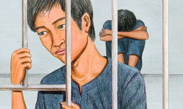 Illustration of victims of human trafficking trapped in a prison. Drawn by Prum Vannak for Radio Free Asia.
