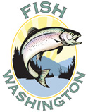 Fish Washington icon: Trout leaping out of wather with mountains and sunrise in the backdrop.