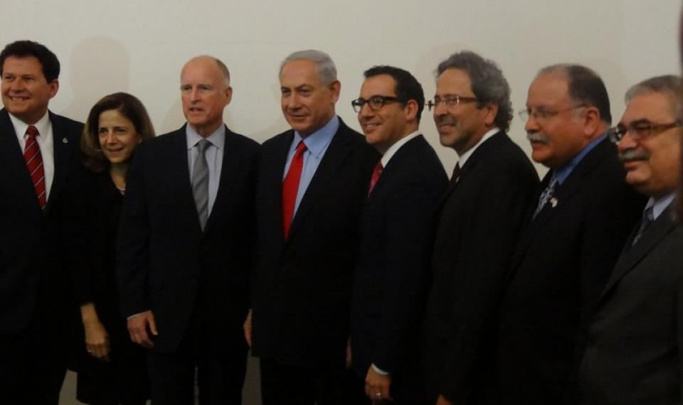 Senator Marty block with California First Lady Ann Gust, Governor Jerry Brown,  Israeli Prime Minister Benjamin Netanyahu, and members of the California Legislative Jewish Caucus.