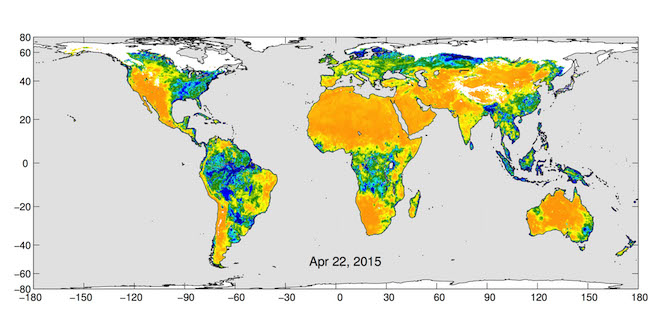 Maps of global soil moisture were created using data from the radiometer instrument on NASA's SMAP Observatory