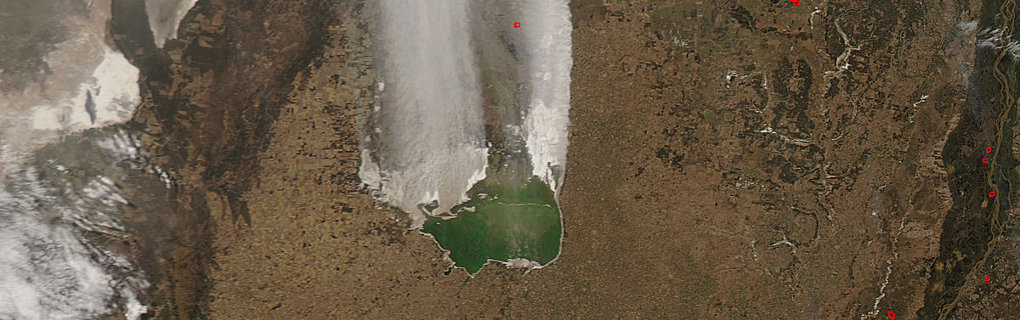 MODIS on NASA's Aqua satellite captured this natural-color image in late July 2012 of dust plumes in Argentina's Laguna Mar Chiquita